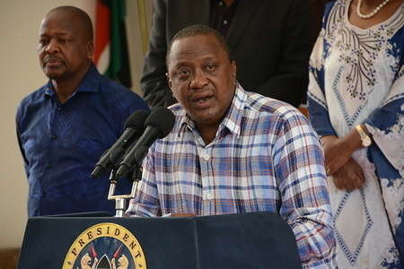 President Uhuru Kenyatta speaks during a press conference at Harambee House in Nairobi where he reported two more cases of Coronavirus in the country, bringing the total number of those affected with the virus to three. The president stated that the two were in contact with the first victim of the virus who came to Kenya through United States of America via London.