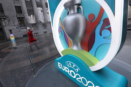 A Logo of the UEFA Euro 2020 is seen at a countdown clock.