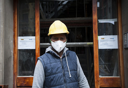 Wilson Ndiye 35, a construction worker, shows how his work equipment has been considerably modified, during the quarantine. Days after the president of the government of Spain, Pedro Sanchez decreed the confinement of all citizens to their homes, the quarantine continues in Spain. Citizens can only leave their homes to work, go shopping, go to the pharmacy or walk the dog.