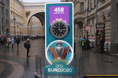 Logo of UEFA Euro 2020 at a countdown clock showing 450 days to the tournament. Clocks were changed from 87 to 450 days as UEFA announced that the tournament was postponed to 2021.