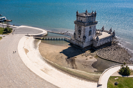 (EDITOR'S NOTE: Image taken with a drone) Belem tower, which is usually full of tourists, practically empty during the state of emergency. The Portuguese government declared a state of emergency across the country due to the Covid-19 pandemic. Appealing to all Portuguese people to stay at home, to avoid the spread of the virus. Leaving the City of Lisbon partially deserted.