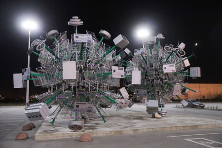 """General view of art installation called """"Virus of shopping"""" at a parking of hypermarket. Art installation """"Virus of Shopping"""" was installed to mark the official opening of hypermarket. At least 1534 cases of coronavirus and 9 death have been confirmed in Russia."""