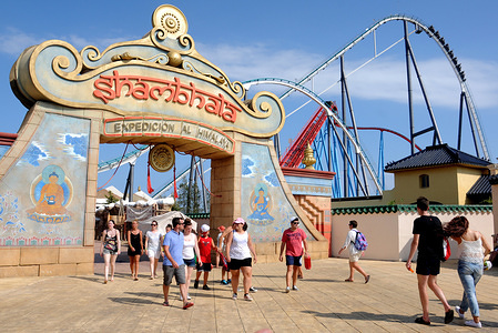 (EDITOR'S NOTE: Image Archived 25/07/2015) Entrance to the Shambhala attraction in the PortAventura World theme park. Due to the Covid-19 coronavirus crisis, PortAventura World theme park may lose 50% of its income this 2020 and put its profitability and liquidity at risk, according to the rating agency Moody's highlights that PortAventura has already initiated several actions, such as the temporary layoff of 1600 workers to lower costs.