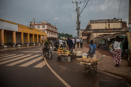 An empty street with few vendors during the corona virus pandemic. The government of Uganda restricted irresponsible movements, banned all public gatherings and closed all stores except food selling places in an attempt to curb the spread of coronavirus pandemic.