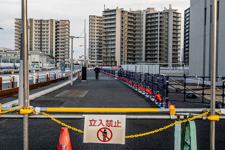 TOKYO, JAPAN - APRIL 7, 2020: General view of the Olympic Village which is purposely built to accommodate the athletes participating in the 2020 Tokyo Olympic. As the Olympic games has been delayed for a year and the COVID-19 Coronavirus continues to spread in Japan, the government announced that the Olyimpic village might be used to accommodate COVID-19 patients who has mild symptoms in order to free up hospital beds for those who need intensive treatment.