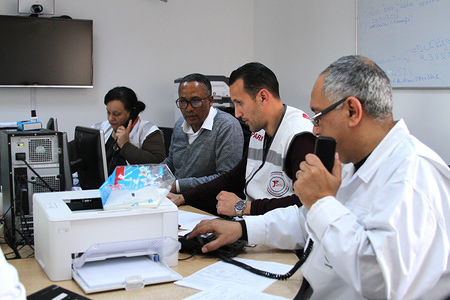 Medical experts responding to COVID-19 disease-related calls during operations. SAMU Tunisia (Urgent Medical Aid Service), are busier than before attending to the increasing COVID-19 patients in the capital Tunis.