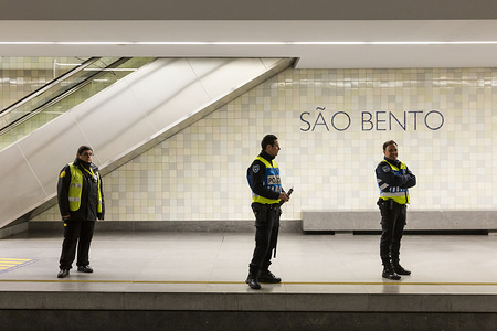 Police officers wait for the arrival of the metro to inspected. From April 9th until April 13th, Easter period, the movement of people outside the municipality of residence is prohibited, and people will only be able to leave their municipality of residence if they have proof of the working entity. Within this period of time the police will inspect highways, buses and the metro, this is done to prevent the spread of coronavirus in Porto.