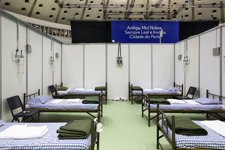An interior view of the Mission Hospital set up at Super Bock Arena (Pavilhão Rosa Mota) in Porto. Secretary of State for Mobility and Mayor of Porto visits the Mission Hospital set up in the biggest venue in Porto, Portugal. The Mission Hospital will start receiving patients infected with the Covid-19 coronavirus on April 14.