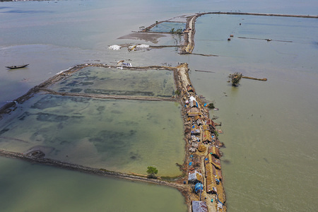 (EDITOR'S NOTE: Image taken with a drone.) Flooded area of Koyra during the aftermath of the extremely severe cyclonic storm Amphan. At least 300,000 people remain homeless a week after a major cyclone ravaged south-western Bangladesh and eastern India and killed more than 100 people, officials said on May 28.