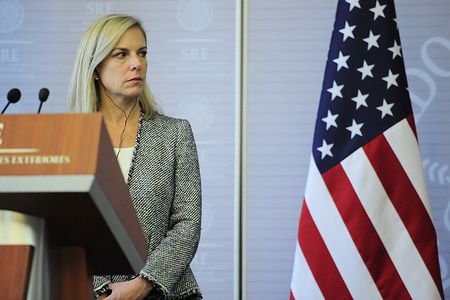 United States Secretary of Homeland Security Kirstjen Nielsen during  a press conference,  she talking about Migration and Security Mexico- U.S as part of her working visit to Mexico at  Ministry of Foreign Affairs on March 26, 2018 in Mexico City, Mexico