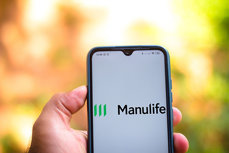 In this photo illustration the Manulife Financial Corporation logo seen displayed on a smartphone.