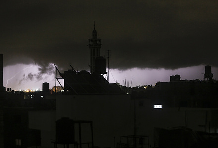 Lightening seen in the sky over Gaza City during a storm.