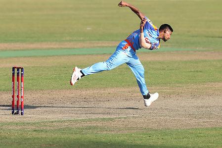 Gazi Group Chattogram cricket player, Mustafizur Rahman in action during the Bangabandhu T20 Cup 2020 between Gemcon Khulna and Gazi Group Chattogram at Sher e Bangla National Cricket Stadium.Gazi Group Chattogram won by 9 Wickets.