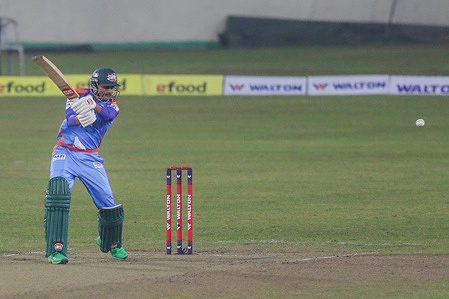 Gazi Group Chattagram cricket player Soumya Sarkar, in action during the Bangabandhu T20 Cup 2020 between Minister Group Rajshahi and Gazi Group Chattagram at Sher-e-Bangla National Cricket Stadium.