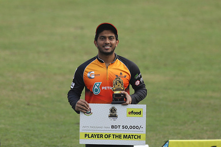 Gemcon Khulna cricket player, Md Zakir Hasan player of the match during the Bangabandhu T20 Cup 2020 between Fortune Barishal and Gemcon Khulna at Sher e Bangla National Cricket Stadium.Gemcon Khulna won by 48 runs.