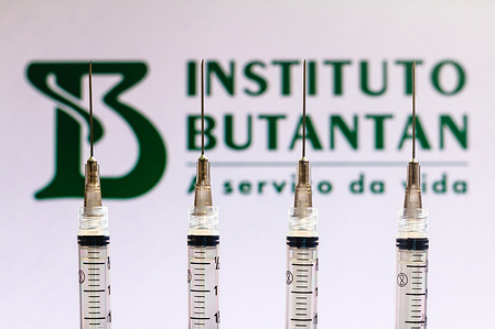 In this photo illustration various medical syringes seen with Instituto Butantan company logo displayed on a screen in the background
