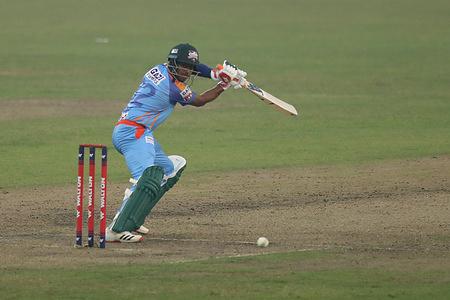 Gazi Group Chattogram cricket player, Mussadek Hossain in action during the Bangabandhu T20 Cup 2020 between Beximco Dhaka and Gazi Group Chattogram at Sher e Bangla National Cricket Stadium. Beximco Dhaka won by 7 runs.