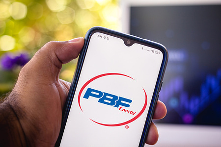 In this photo illustration the PBF Energy logo seen displayed on a smartphone.