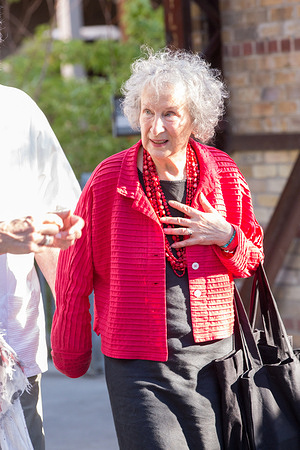 Margaret Atwood arrives at the walrus talks the future at evergreen brickworks in Toronto.