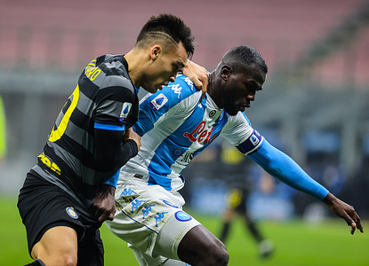 Lautaro Martínez of FC Internazionale and Kalidou Koulibaly of SSC Napoli  seen in action during the Serie A 2020/21 football match between FC Internazionale and SSC Napoli at San Siro Stadium in Milan. ( Final score; FC Internazionale 1:0 SSC Napoli)