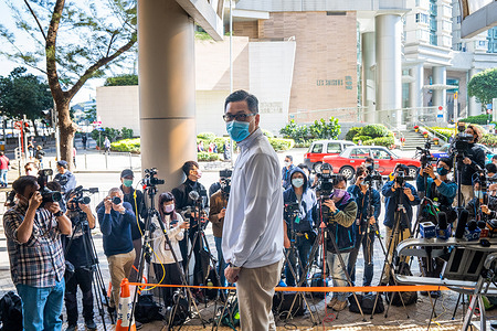 Former Democratic Party lawmaker Lam Cheuk-ting seen outside the Eastern Magistrates' Courts. Lam was charged for allegedly disclosing the identity of a person under the investigation by the Independent Commission Against Corruption (ICAC) in relations to a July 2019 mob attack.