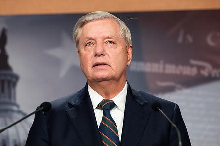 U.S. Senator Lindsey Graham (R-SC) speaks at a press conference.