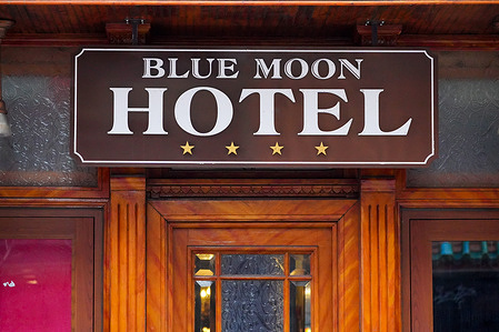 A view of Blue Moon Hotel in Lower East Side, Manhattan. Lower East Side Neighbours Sue NYC to Stop Conversion of Blue Moon Hotel to Homeless Shelter.
