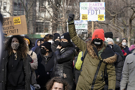 Anti-fascists chant slogans during the protest. Various groups representing an anti-fascist ideology, including a defund the police group, build a revolutionary workers state and a group against the Proud Boys, marched form Central Park South towards Madison Square Park.