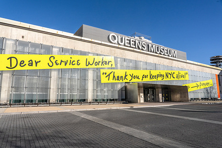 A view of the Queens Museum in Corona Flashing Park future site of the NYC Health Department Vaccine Hub in Queens.People over 75, education workers, the police and firefighters, public transit and safety workers are eligible to get vaccines as group 1B. Group 1A includes healthcare workers. More than 600 people registered to get vaccinated at this location on the first day.