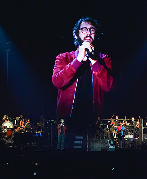 Josh Groban seen performing live in concert at the Tauron Arena.The artist appeared in Poland for the first time.
