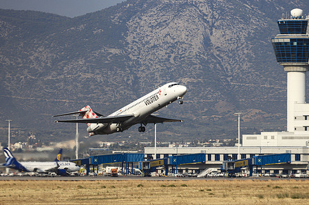 A Boeing 717 aircraft of Volotea Airlines takes off from Athens International Airport.