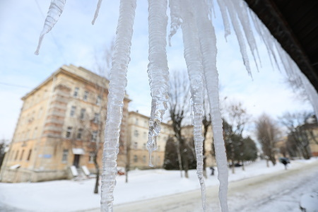 Ice seen hanging from the roof of the building. Temperature has dropped to -20c in the  city of Lviv in western Ukraine.