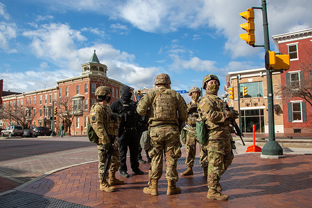 Armed Pennsylvania National Guard members are stationed a block away from the Pennsylvania State Capitol. Reports of a possible armed protest prompted closure of the Pennsylvania Capitol and an extra security presence from Pennsylvania Capitol Police, State Police, Harrisburg Police and the Pennsylvania National Guard.