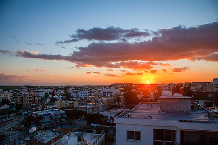 A view of the sunrise from Aglantzia suburb.