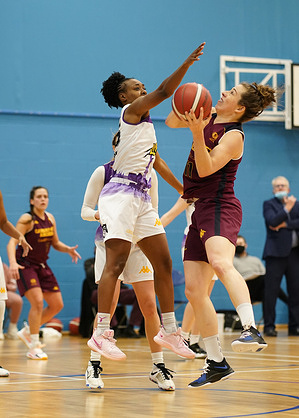 Fatema Abdelaziz (L) and Justine Ferland are seen in action during the Women's British Basketball League between Cardiff Archers and London Lions at Cardiff Archers Arena. (Final score; Cardiff Archers 51:68 London Lions)