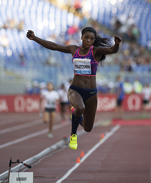 Catherine Ibarguen (Colombia) in action during IAAF Diamond League Golden Gala at the Stadio Olimpico in Rome.
