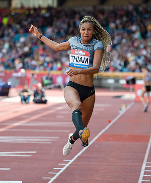 Nafissatou Thiam (Belgium) in action during the IAAF Diamond League Athletics 2019 at Alexander Stadium.