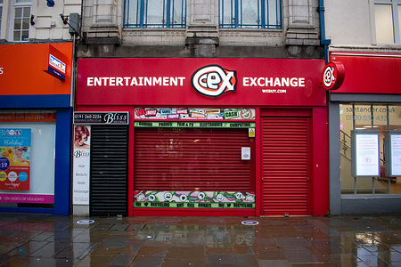 General view of CEX store in Northumberland street from the city of Newcastle upon Tyne in the north of england during the third national lockdown.
