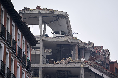View of a destroyed  building at Calle Toledo due to a gas explosion in Madrid. At least three died after the explosion in the building in the center of Madrid. Around 3:00p.m in the afternoon, a strong explosion partially destroyed a building number 98 on Toledo Street, in the center of the Spanish capital. Preliminary reports point to a gas leak, which caused at least three deaths, in addition to eleven injured, as confirmed by the Community Government delegate, José Manuel Franco, and sources from the Madrid City Council.