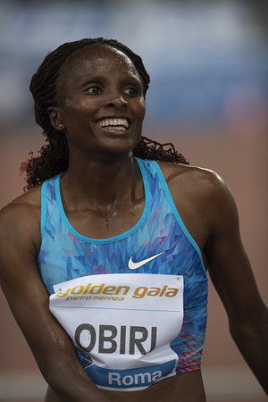 Hellen Obiri from Kenya seen in action during IAAF Diamond League Golden Gala at the Stadio Olimpico in Rome.