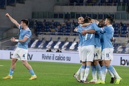 players of SS Lazio celebrate a goal during the Italian Cup match between SS Lazio and Parma at Stadio Olimpico. (Final score; SS Lazio 2:1 Parma)