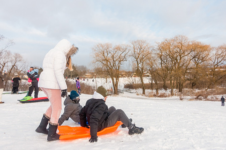 Kids and parents enjoy tobogganing on a cold winter day.winter temperatures will be slightly below normal in the east and slightly above normal in the west with the coldest periods in mid and late January.