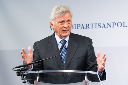 Mike Beebe, former Governor of Arkansas, speaking at the Restoring Our Democracy program at the Bipartisan Policy Center.