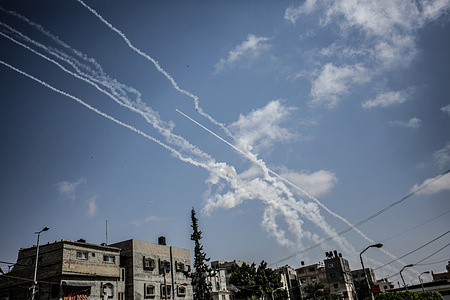 Rockets are being fired from Gaza targeting Israeli cities in response to Israeli airstrikes on the Gaza Strip.