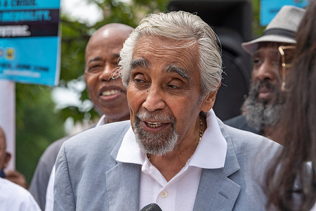 """Former U.S. Congressman Charles Rangel speaks at a """"Fathers in Harlem"""" rally in support of Eric Adams mayoral campaign in Harlem."""