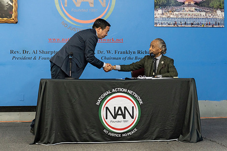 Rev. Al Sharpton welcomes Andrew Yang at the National Action Network's Mayoral Forum in New York City.   Leading New York City democratic mayoral candidates participate in Rev. Al Sharpton and the National Action Network's mayoral forum that was held in front of a live audience on the anniversary of the killing of George Floyd.