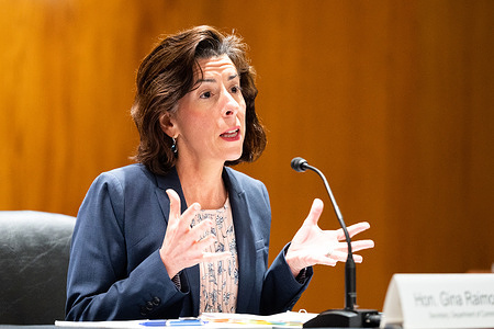 U.S. Secretary of Commerce, Gina Raimondo speaking at a hearing of the Senate Appropriations Committee Subcommittee on Commerce, Justice, Science, and Related Agencies.