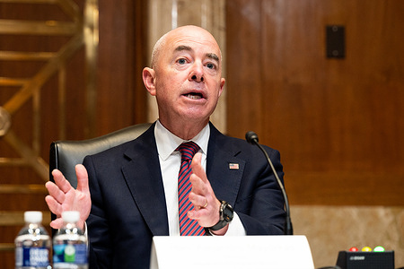U.S. Secretary of Homeland Security, Alejandro Mayorkas speaking at a hearing of the Senate Appropriations Committee Subcommittee on Homeland Security.