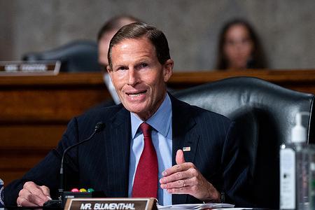 U.S. Senator Richard Blumenthal (D-CT) speaking at a Senate Judiciary Committee hearing.