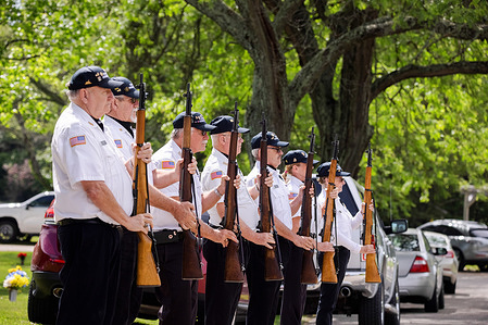 The Honor Guards during Memorial Day at Valhalla Memory Gardens. A Memorial Day ceremony was held to remember those that have died serving in the US armed forces. The ceremony was held after a year off due to the Covid-19 pandemic. Most Americans aren't affected by military service, since less than 1 percent of Americans serve in the military.